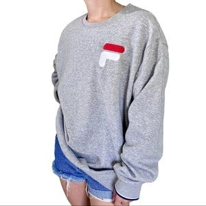 Fila Gray Embroidered Crewneck Pullover